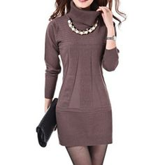Product Note: Accesories:without Necklace Product Details: Product Details Style Cute Material Acrylic Silhouette A-Line Dresses Length Mini Neckline Turtleneck Sleeve Length Long Sleeves Pattern Type