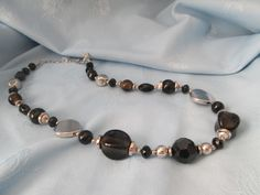 """Handmade Necklace - Used Vintage Beads - Black glass & crystal beads - Silver Disc/beads - Length 25"""" - Lobster clasp- Adjustable by LsFindsandCreations on Etsy"""
