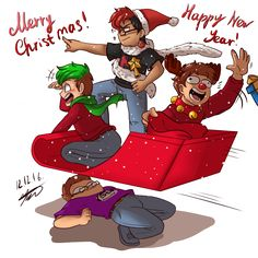 .: Draw the GANG - Merry Holidays! :. by AquaGD on DeviantArt