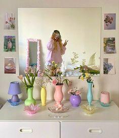 Pastel Room Decor, Pastel Bedroom, Cute Room Decor, Wall Decor, Room Ideas Bedroom, Bedroom Decor, Bedroom Inspo, Indie Room, Pretty Room