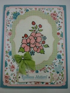 Stampin Up Boardering on Romance Stamp w/Twitterpated DSP, Marina Mist and Pink Pirouette Card Stock