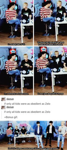 """I actually think Zelo is the purest and most innocent maknae in all boy groups I stan~ He's still a giant baby to me~ never grows old :"""">"""
