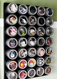 Spice Rack - this magnetic spice rack is perfect for holding small embellishments like buttons, paper flowers and chipboard.