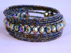 Peacock Memory Wire Wrap Bracelet by FrozenNorthJewelry on Etsy, $15.00