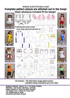 """Machine Embroidery CD's --the Pattern and Embellishments are ALL IN THE HOOP!  18"""" Doll Sports and Activities"""