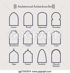 Architectural line frame icons set