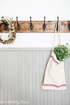 This DIY towel rack is gorgeous! The rustic finish and strong, sturdy hooks make this a perfect coat or towel rack for any space. Great step-by-step tutorial, too! maisondepax.com.  Hooks purchased from Amazon.  http://www.amazon.com/gp/product/B00R1SJ7PI/ref=as_li_tl?ie=UTF8&camp=1789&creative=390957&creativeASIN=B00R1SJ7PI&linkCode=as2&tag=maidepax-20&linkId=SSMVSR4KO4KBFFSP