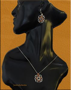 Helm flower chain maille set sterling silver and copper with handcut rings  http://marikach.blogspot.com/2013/12/helm-flower-chain-maille-set.html