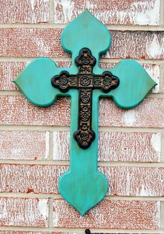 Layered Wooden Cross // Antiqued Turquoise Blue. $29.50, via Etsy.