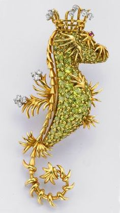 SCHLUMBERGER FOR TIFFANY VINTAGE SEA HORSE BROOCH