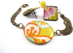 Glam'Romantic- Bracelet and earings with flower print fabric. A spring mood !