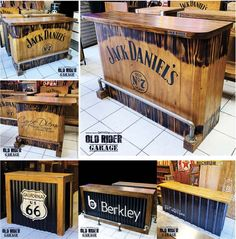Brewery Decor, Man Cave Home Bar, Coffee Shop Design, Man Cave Garage, Jack Daniels, Pallets, Espresso, Cabinets, Bbq