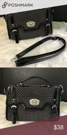 Goth Glam??? 🖤🔫 This is a great find! Fully studded handbag glossy black removable straps.  Used Bags Shoulder Bags