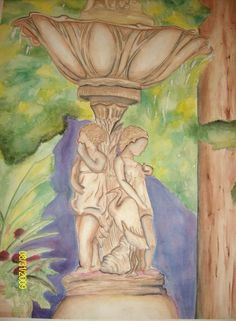 this is a watercolor painting of a fountain in Buffalo, NY.