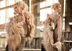 Rebecca Bruce | Playa |  Design Mongolian Fur and Leather Slash Dress photo by Phil Saltonstall Modle Georgianne Carabetta