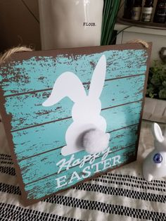 Farmhouse♡Happy Easter Bunny Plaque on Mercari Spring Crafts, Holiday Crafts, Easter Crafts, Easter Decor, Hunny Bunny, Happy Easter Bunny, Peter Cottontail, Faux Plants, Craft Gifts