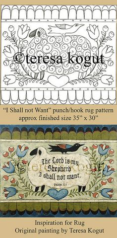 Hooked rugs - patterns by teresa kogut. I like the idea of this for a primitive rug . Wool Quilts, Wool Rugs, Rug Hooking Patterns, Rug Patterns, Punch Needle Patterns, Hand Hooked Rugs, Penny Rugs, Google Sites, Folk Art