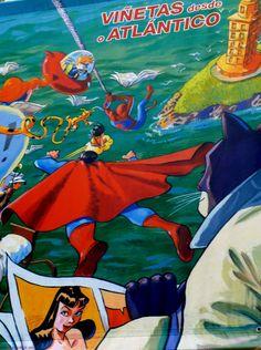La Coruña. Cartel de presentación de exposición sobre comic. La Corunna Poster presentation of an exhibition of comic