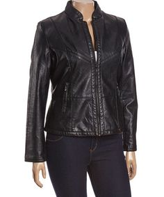 Another great find on #zulily! Black Collar I.D. Jacket - Plus #zulilyfinds