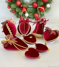 """Set of Christmas balls """"Christmas""""- Набор елочных шаров «Рождество Quilted Christmas Ornaments, Candy Christmas Decorations, Christmas Tree Toy, Christmas Crackers, Christmas Sewing, Christmas Baubles, Christmas Holidays, Christmas Crafts, Chinese Christmas"""