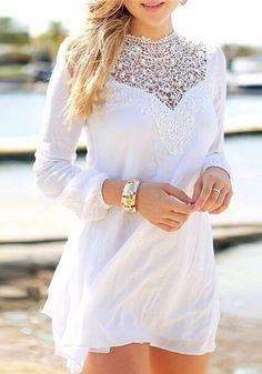 White Plain Lace Hollow-out Band Collar Lantern Sleeve Chiffon Dress