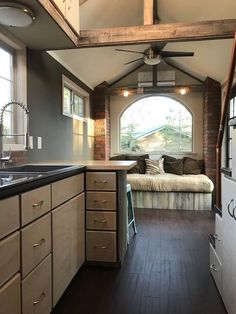 the clover tiny house on wheels by modern tiny living 54 Tiny House Cabin, Tiny House Living, Tiny House Plans, Tiny House On Wheels, Rv Living, Living Room, Small Rustic House, Small Room Design, Tiny House Design