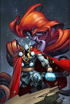 Inhuman #4 - Thor and Medusa by Joe Madureira, colours by Edgar Delgado *