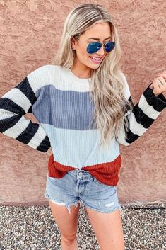 Shop Jess Lea Boutique Clara Color Block Striped Sweater #jesslea #jessleaboutique #jessleastyle #casualstyle #momstyle #casualoutfit #easyoutfit #ootd #boutique #boutiquestyle #stripedsweater #fallstyle #fallfashion #comfyoption