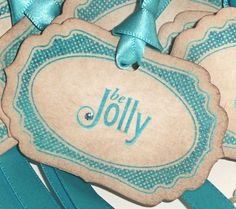 Turquoise Christmas Vintage Style Tags - Set of 6  - Be Jolly with Bright Turquoise Ribbon