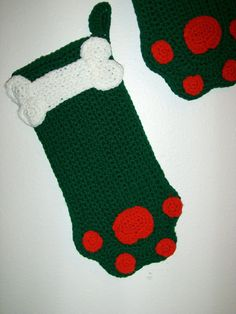 Adorable Green Christmas Stocking or Dog by MissyOodlesCreations, $12.00