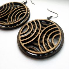 Wood Hoops Wood Earrings Laser Cut Jewelry Wood Hoops