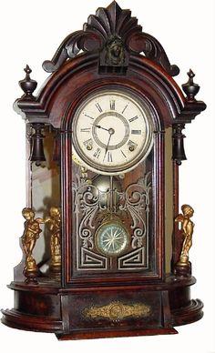 "Antique F Kroeber ""Occidental"" Model Clock, C.1882, F. Kroeber Clock Co., ""Occidental"" 8-day walnut mirror side"