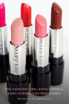 Ready to meet your matte match? Mary Kay® Gel Semi-Matte Lipstick comes in eight long-wearing shades your lips will love. Our lightweight gel formula glides on smoothly and cushions lips, leaving them feeling soft and supple.