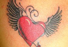 Gorgeous Red Heart With Wings Tattoo (2)