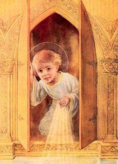 Peinture religieuse :  L'Enfant Jésus dans le Tabernacle