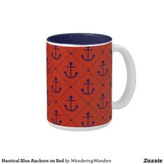 Nautical Blue Anchors on Red Two-Tone Coffee Mug