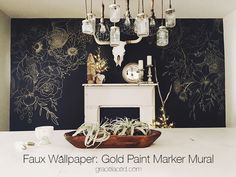 Faux Wallpaper: Gold Paint Marker Mural | can't draw well so maybe choose a similar idea with wallpaper for one wall