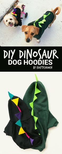 Make your own Halloween dog costume! This easy DIY tutorial shows you how to turn an American Apparel dog hoodie into a dinosaur costume using felt paper and other craft materials. Template for the spikes included! Check it out on craftycarmen via @carmenshiu.