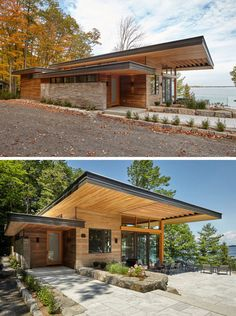 A Couple Of Contemporary Cottages Overlook A Lake In Canada This cottage has a contemporary design featuring large roof overhangs, ceiling heights with Douglas Fir wood ceilings and soffits, and exposed timber joists. Contemporary Cottage, Modern Cottage, Contemporary Design, Contemporary Apartment, Contemporary Office, Contemporary Bedroom, Wood Cottage, Contemporary Architecture, Contemporary Chandelier