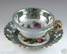 Floral Footed Tea Cup Saucer Made In Japan