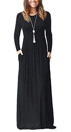 5de9f9235a2 GRECERELLE Women s Sleeveless Racerback Long Sleeve Loose Plain Maxi Dresses  Casual Long Dresses Pockets Long Dresses