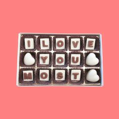 I Love Most Heart Marble Chocolate Letters  by chocolatesays, $19.49