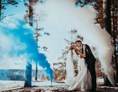 """Last year, sparklers seemed to be the """"it"""" accent at every unforgettable wedding event. But now, brides and grooms are ditching the sparkly sticks for a new wedding trend that's totally the bomb. Literally. That's right. Smoke bombs for weddings are …"""