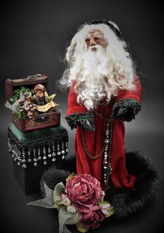OOAK Santa, Father Christmas, St Nick, Olde World Santa, Sculpture, One of a Kind, Art Doll, Art Doll Santa, Handmade Santa, Victorian Santa by HippieHags on Etsy Black Velvet Leggings, Free Studio, Absolutely Stunning, Beautiful, Father Christmas, Dark Skin, Art Dolls, Santa, Victorian