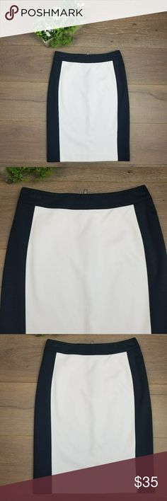 NWT Banana Republic Frame Pencil Skirt New with tags never worn skirt size 0.amazing quality white with dark navy blue sides. Banana Republic Skirts