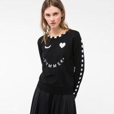 Women's Black Merino Wool Sweater With 'Summer' Intarsia