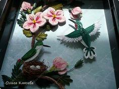 Картина панно рисунок Квиллинг Мои колибри + ссылка на МК Бумажные полосы фото 3