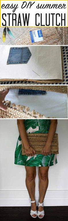 Straw handbags are SO popular! See how we made this ADORABLE summer straw clutch for under $10!! Dare you to find fun summer purses for that price! LOVE THIS IDEA!
