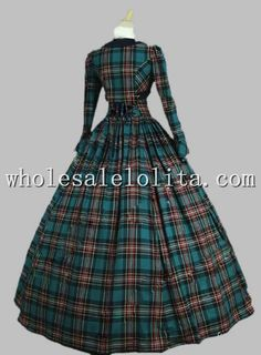 Victorian Civil War 3-pc Classic Tartan Period Dress Ball Gown Reenactment Theatre Clothing