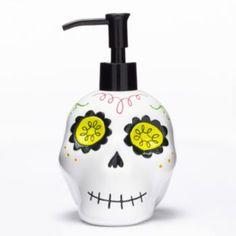 halloween sugar skull soap pump white liked on polyvore featuring home bed bath bath bath accessories white white bathroom accessories